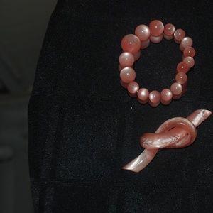 Vintage Pink Plastic (Moonstone) Pin and Bracelet